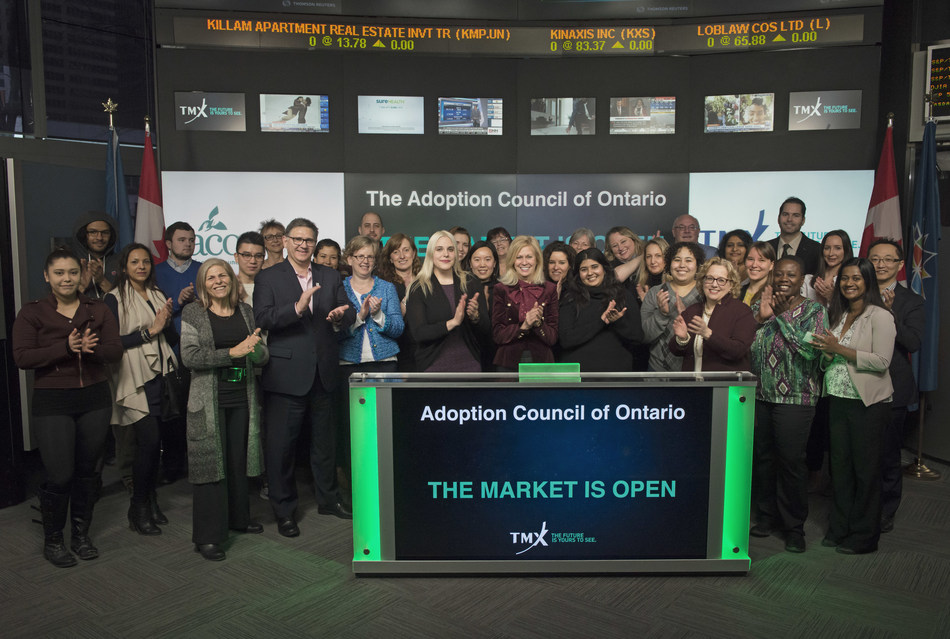 Susan Watt, Board Member, The Adoption Council of Ontario, joined Jean Desgagné, President and CEO, Global Solutions, Insights & Analytics Strategies, TMX Group to open the market. The Adoption Council of Ontario is a non-profit charitable organization formed by representatives of the adoption community. It is committed to creating an Ontario where all children have a family forever. The Adoption Council of Ontario's mission is to educate the community about adoption, connect families and children, support them on their lifelong journey, and advocate for all those touched by adoption. (CNW Group/TMX Group Limited)