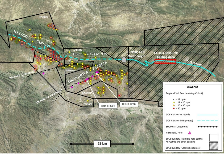 Figure 1 – Kunene Co-Cu Project Area Showing Principal Targets Associated with DOF Horizon, Structural Lineaments and Regional Soil Geochemical Anomalies (Cobalt) (CNW Group/Namibia Rare Earths Inc.)