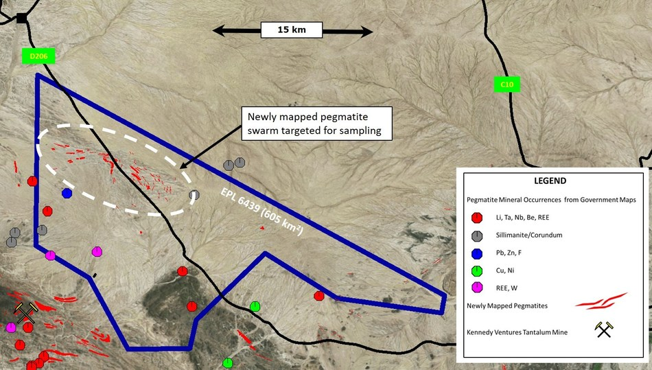 Figure 2 – Mineral Occurrences and Pegmatites Showing Newly Mapped Pegmatite Swarm on Warmbad Exclusive Prospecting Licence (CNW Group/Namibia Rare Earths Inc.)