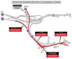 Entraves dans l'échangeur Turcot pour la fin de semaine du 23 février (Groupe CNW/Ministère des Transports, de la Mobilité durable et de l'Électrification des transports)