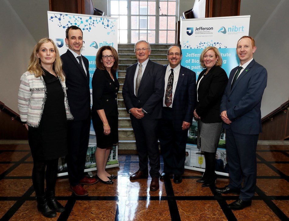 Leaders announced this unprecedented global partnership, including (l-r) Alison Quinn and Killian O'Driscoll of NIBRT; Kathy Gallagher of Jefferson; Dominic Carolan of NIBRT; Ron Kander of Jefferson; Mary Lynne Bercik '90, of Jefferson Institute for Bioprocessing; and Michael Lohan of IDA Ireland.