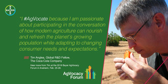 Dr. Tim Anglea, Global R&D Fellow, Citrus Science and Technology, The Coca-Cola Company, will be a featured speaker at the 2018 Bayer AgVocacy Forum. Dr. Anglea will address the topic of citrus greening.