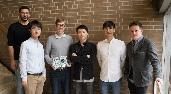 LegUp Computing team from left to right: Omar Ragheb, Zhi Li, Dr. Andrew Canis, Ruolong Lian, Dr. Jongsok Choi, and University of Toronto Professor Jason Anderson (Photo: Jessica MacInnis)