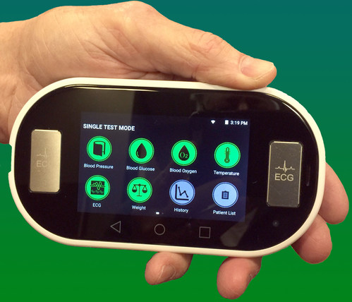 The VoCare Vitals360 is the world's first professional grade medical diagnostic device which collects 6 different vital measurements and is equipped with WiFi, Bluetooth, 4G LTE for data transmission, without the need for separate peripherals or an external hub. It is the first and only telehealth solution that can be used for both Point-of-Care and Remote Patient Monitoring.