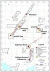 Map of the five underground targets on Golden Star's concession areas (CNW Group/Golden Star Resources Ltd.)