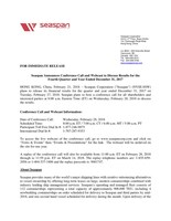 Seaspan Announces Conference Call and Webcast to Discuss Results for the Fourth Quarter and Year Ended December 31, 2017 (CNW Group/Seaspan Corporation)