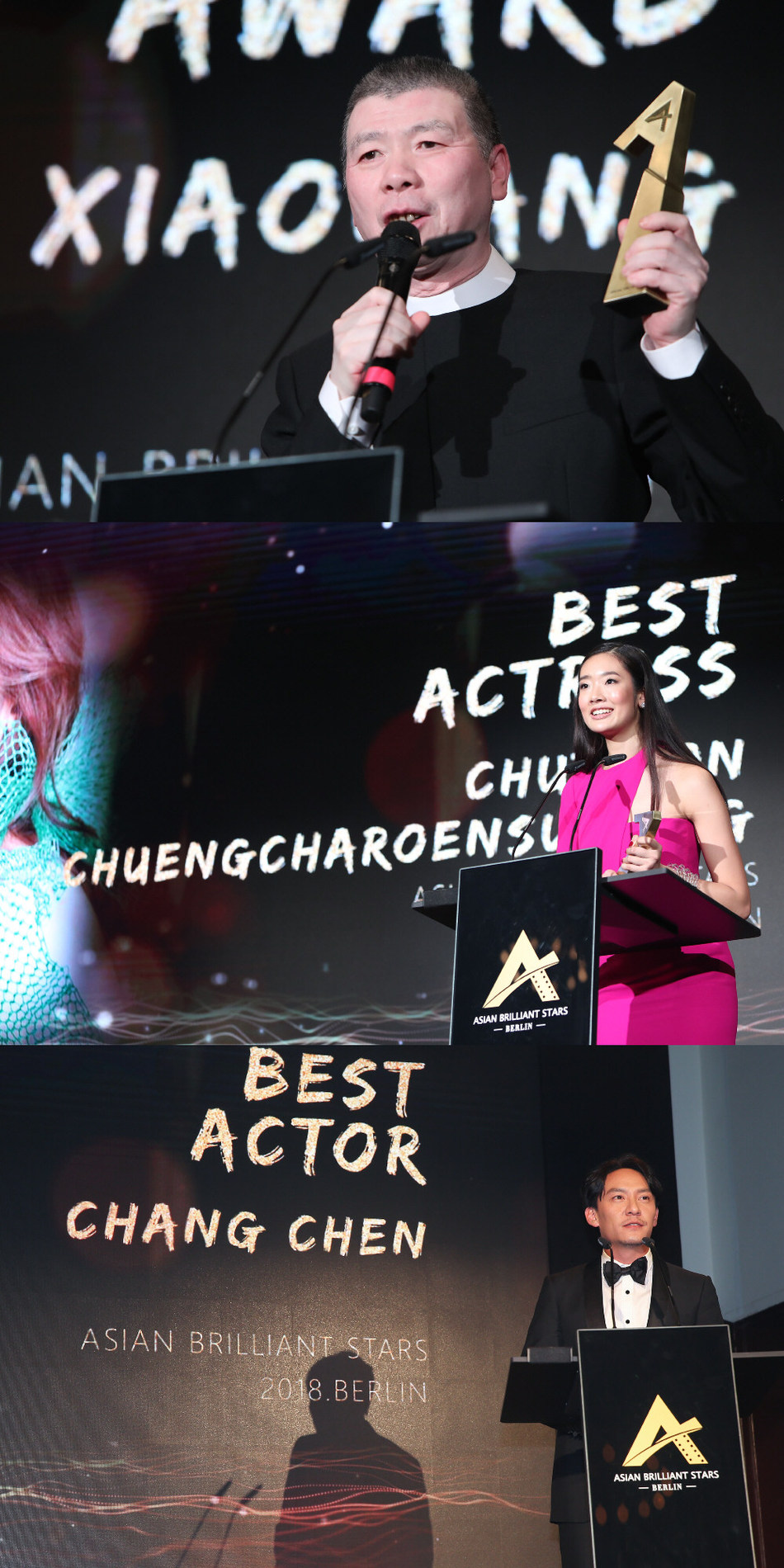 Feng Xiaogang,The Special Jury Award (up); Chutimon Chuengcharoensukying , The Best Actress (middle); Chang Chen , The Best Actor (down)