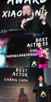 Feng Xiaogang, Premio Especial del Jurado(arriba); Chutimon Chuengcharoensukying, Mejor Actriz (centro); Chang Chen, Mejor Actor (abajo) (PRNewsfoto/Asian Brilliant Stars)