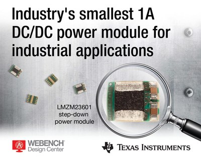 Industry's smallest 36-V, 1-A DC/DC step-down power module from Texas Instruments features tiny MicroSiP packaging to shrink board space by up to 58%