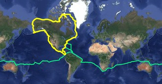 Simon's S/V Celebrate's satellite track of North America Circumnavigation
