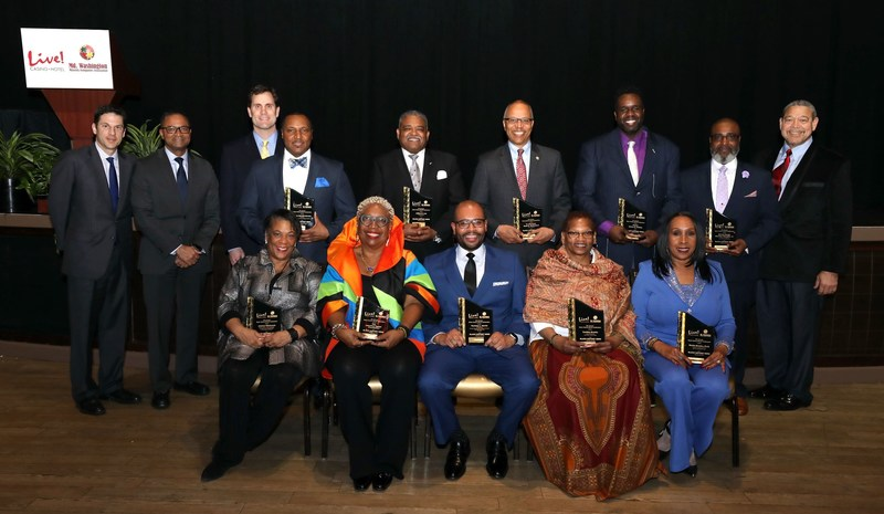Honorees: (back row) Jonas Edward Brooks, Jefferi K. Lee, Maryland Lt. Governor Boyd K. Rutherford, Pastor James E. Rollins, Bishop Doctor Abraham Shanklin, Jr.  (front row) Jeanne Hitchcock, Cassandra Sneed Ogden for The Jonathan Ogden Foundation, Ramsey Harris, Cynthia Brooks, Sheila Brooks, Ph.D.  Also pictured from left to right (back row): Jonathan Cordish, Zed Smith, Travis Lamb, Wayne R. Frazier, Sr.