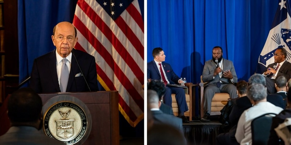 U.S. Secretary of Commerce Wilbur L. Ross, MBDA Acting National Director Christopher A. Garcia, Mr. Ja'Ron K. Smith, Special Assistant to the President for Domestic Policy at the White House and Mr. Johnathan Holifield, Executive Director of the White House Initiative on HBCUs.
