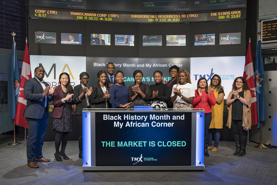 In recognition of Black History Month, Chioma Ifeanyi-Okoro, CEO and Co-founder, My Africa Corner, joined Lianne Hannaway, Managing Director, Business Finance & Controller, TMX Group. Every February, Canadians are invited to participate in Black History Month festivities and events that honour the legacy of Black Canadians, past and present. (CNW Group/TMX Group Limited)