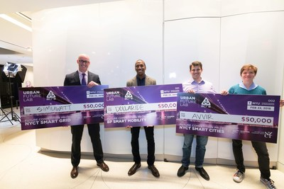 Winners of the 2017 Urban Future Competition earned $50,000 each and a spot in the NYU Tandon Urban Future Lab's ACRE incubator. Left to right: Oliver Davis, CEO of simuwatt, NYCT Smart Grid category; Sulaiman Sanni, CEO of Dollaride, BP Smart Mobility category; and Raffi Holzer, CEO, and Atira Odhner, chief technology officer, both of Avvir, NYCT Smart City category. The competition by the Urban Future Lab was sponsored by BP Ventures, The New York Community Trust (NYCT), and the New York State Energy Research and Development Authority.