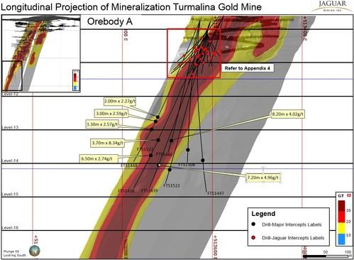 Figure 1 - Longitudinal Projection of Mineralization Turmalina Gold Mine (PRNewsfoto/Jaguar Mining Inc.)