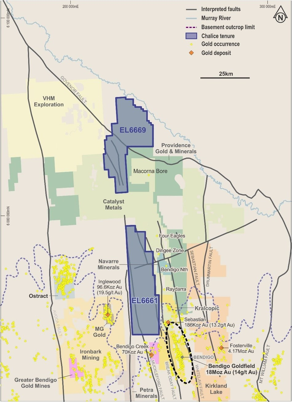 Figure 1- Project Location map of EL6661 and EL6669, Victoria Australia (CNW Group/Chalice Gold Mines Limited)