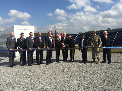 Redstone Arsenal and SunPower ribbon-cutting for a 10-megawatt solar photovoltaic and 1-megawatt energy storage system
