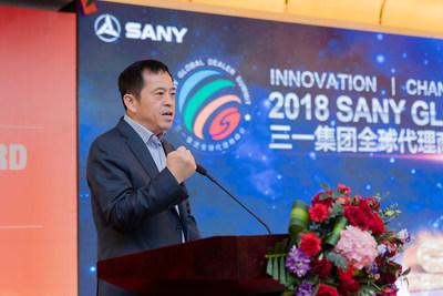 Sr. Xiang Wenbo, diretor do grupo SANY e presidente da SANY Heavy Industry faz um discurso (PRNewsfoto/SANY)