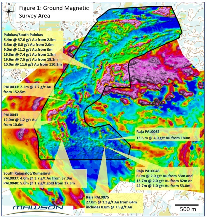 Figure 1: Detailed ground magnetic coverage and representative drill results from drilling prior to 2018 at Rajapalot in Finland. (CNW Group/Mawson Resources Ltd.)