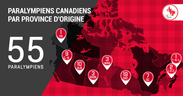 Paralympiens Canadiens par province d'origine (Groupe CNW/Canadian Paralympic Committee (Sponsorships))