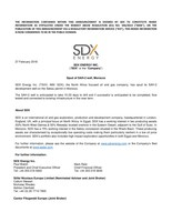 "SDX ENERGY INC. (""SDX"" or the ""Company"") - Spud of SAH-2 well, Morocco (CNW Group/SDX Energy Inc.)"