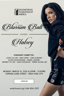 Halsey with the Blossom Award at its Ninth Annual Blossom Ball on Monday, March 19th at 6:30 PM, at Cipriani, 42nd Street in New York City