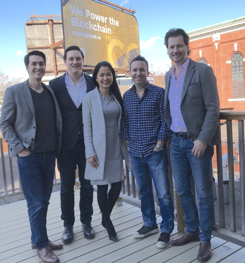 CryptoGlobal announces CAD $10 Million private placement.  The news follows yesterday's announcement that CryptoGlobal has agreed to acquire BitCity Group.  Pictured from left to right:  Jordan Black, Brandon Keks, Jill Javier, CryptoGlobal CEO Rob Segal and CryptoGlobal President James Millership. (CNW Group/CryptoGlobal Corp.)