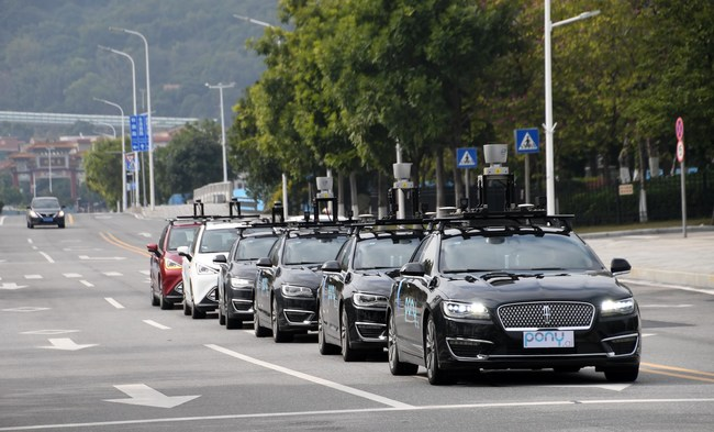 Pony.ai's autonomous cars on public roads in Nansha, Guangzhou