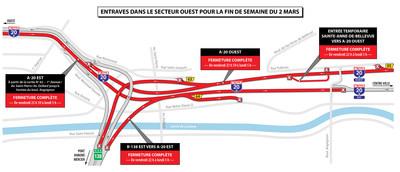 Entraves dans le secteur ouest pour la fin de semaine du 2 mars (Groupe CNW/Ministère des Transports, de la Mobilité durable et de l