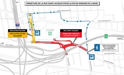 Fermeture de la rue Saint-Jacques pour la fin de semaine du 2 mars (Groupe CNW/Ministère des Transports, de la Mobilité durable et de l