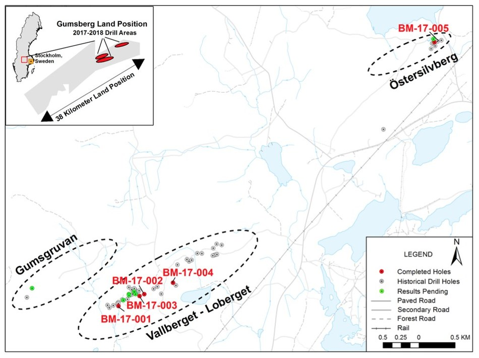 Figure 1 - Location of Gumsberg Project, Land Position and 2017 - 2018 Diamond Drill Holes (CNW Group/Boreal Metals)
