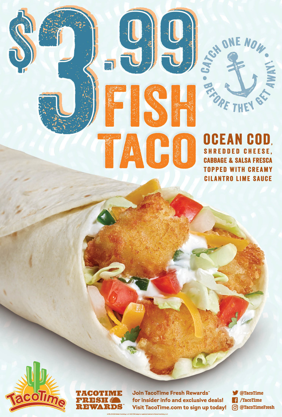 TacoTime introduces the new $3.99 Fish Taco, available beginning Feb. 28, for a limited time only.