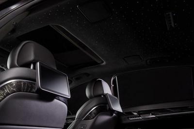 2019 Genesis G90 Vanity Fair Special Edition - Stardust interior: Tuxedo-style black velvet lines the cockpit.