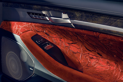 2019 Genesis G90 Vanity Fair Special Edition - The Ruler interior: The red Nubuck leather interior is enhanced by free-flowing, organic patterns reminiscent of a designer's sketch.