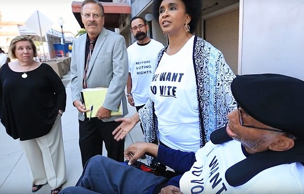 Spectrum Institute has organized protests and conferences to demand justice for adults with disabilities ensnared in guardianship proceedings. This photo depicts a voting rights protest in San Diego on behalf of David Rector, a former NPR news producer.