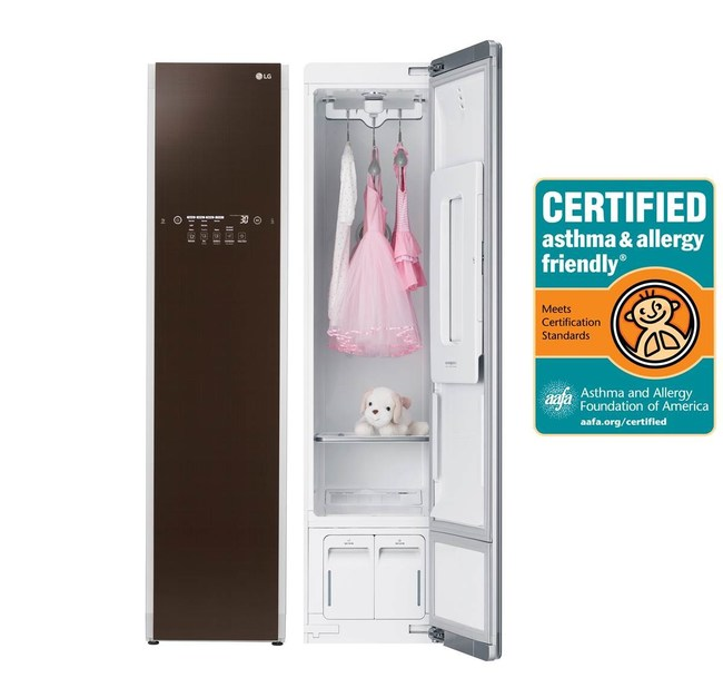 LG Styler is the first clothing care system of its kind to receive the asthma and allergy friendly® certification from the respected Asthma and Allergy Foundation of America (AAFA), joining LG washing machines – the first washers in the industry to be certified by this foundation as well.