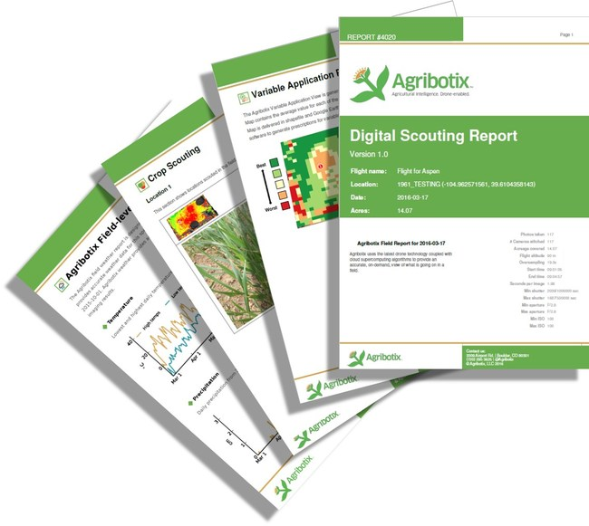 The Digital Scouting Report presents the analysis of data Agribotix FarmLens Digital Scouting Report from an agricultural drone to help farmers identify problems, increase yields and decrease use of expensive inputs like fertilizer.