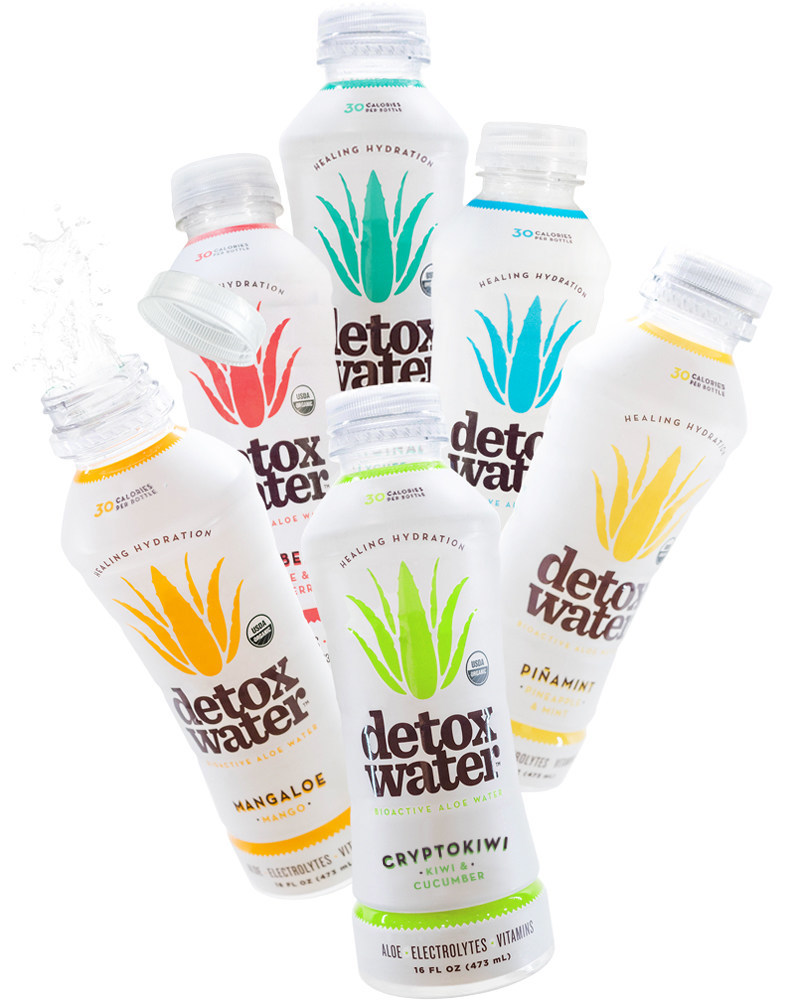 The Detoxwater product line, featuring Cryptokiwi.