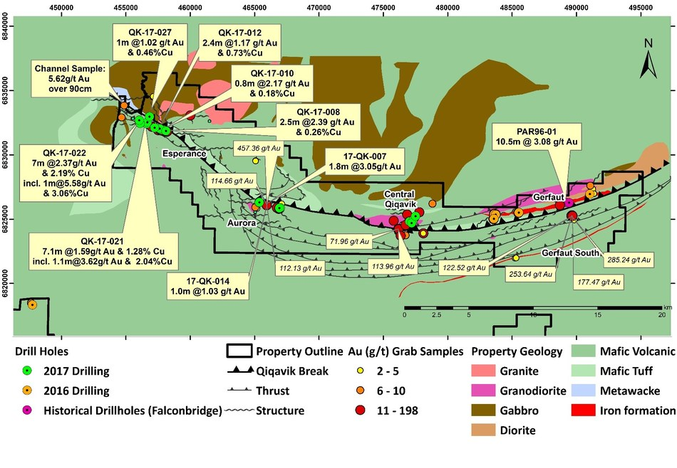 Figure 1: Drilling and Prospecting Highlights on the Qiqavik Property (Note that grab samples are selective by nature and values reported may not be representative of mineralized zones. Also note drill intervals reported in this press release are down-hole core lengths as true thicknesses cannot be determined with available information) (CNW Group/Orford Mining Corporation)