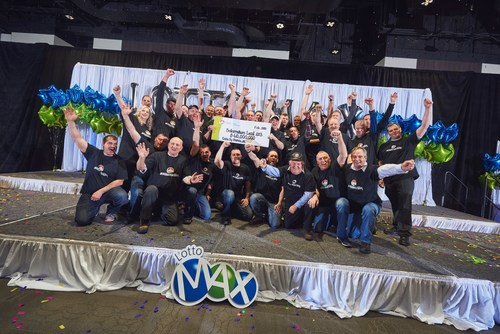 Atlantic Canada's newest millionaires, members of the Boilermakers Local 203 at a celebration held Wednesday, Feb. 28th in St. John's, NL. (CNW Group/Atlantic Lottery Corporation Inc. (ALC))