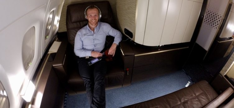 Alex Miller Sitting In Etihad's First Class Apartment