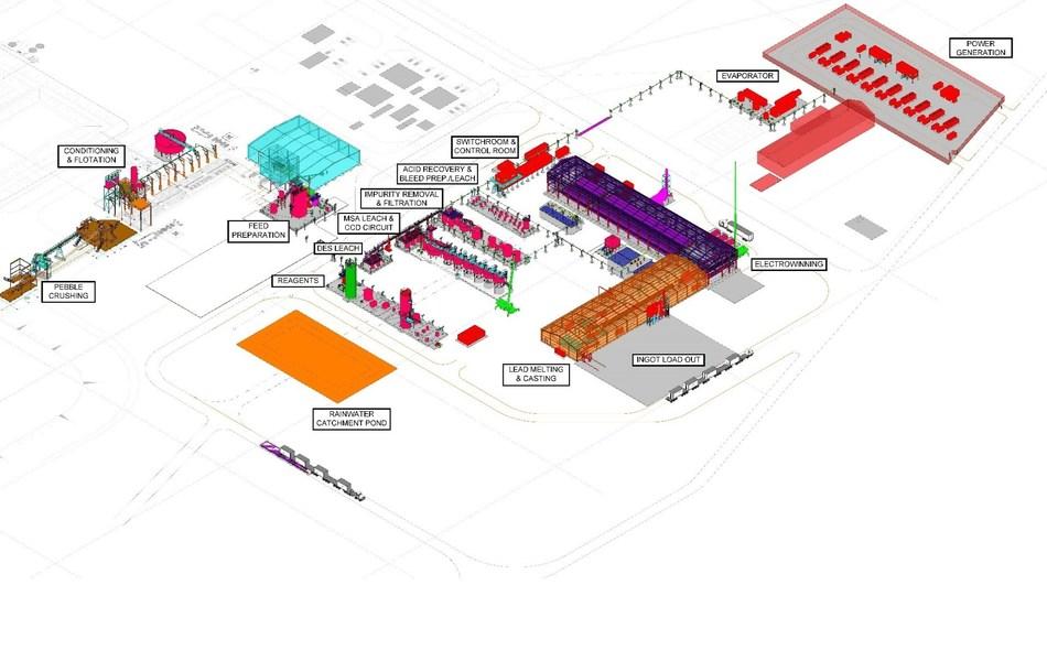 Figure 2 – 3D Model of Hydrometallurgical Facility (CNW Group/LeadFX Inc.)