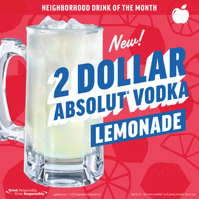 Applebee's unveils the 2 DOLLAR ABSOLUT® Vodka Lemonade as the Neighborhood Drink for the month of March