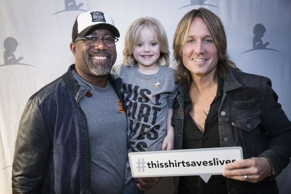 Keith Urban and Darius Rucker supporting St. Jude Children's Research Hospital through #ThisShirtSavesLives.