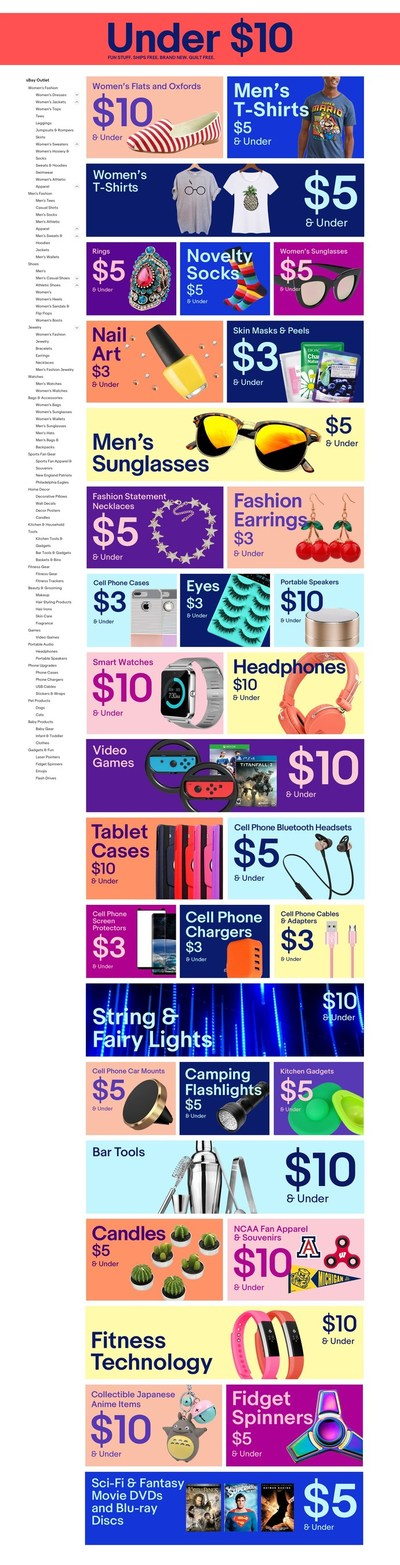 """Shoppers can browse trending items - such as """"tech under $3"""" and """"$5 sunglasses"""" - across men's and women's apparel, fitness, home decor and more."""