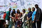 MJ Srikant, Strategist, Founder CEO MJSPR and Convenor of the Little Buddy COLOROTHON Season 10 and Ramya Gangadharan, Director, Learning and Development, Little Buddy Kindergarten presenting Bicycle to the winner of Little Buddy radio contest run by Radio Indigo 91.9 the official radio partner of Little Buddy COLOROTHON –Season 10 in the presence of Kishore Joseph, Founder Trustee, COLOROTHON and MD, Breathe Entertainment; Sonal Monteiro, Celebrity guest and Sandalwood actress; Dr. Shiva Shankar Rao, Director–Corporate Affairs & Finance, Little Buddy Kindergarten; and John Kenon, Co-Convenor of the Little Buddy COLOROTHON Season 10. (PRNewsfoto/Little Buddy Kindergarten)