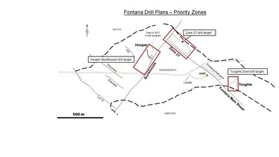 Map 1: Proposed drill traces:  4 priority mineralization zones at the Fontana Gold Project. (CNW Group/Tres-Or Resources Ltd.)