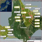 Figure 1, Japan Gold, Hokkaido Project Locations and Gold Bearing Provinces (CNW Group/Japan Gold Corp.)