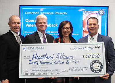 Combined Insurance Donates $20,000 to Heartland Alliance. Pictured from L to R: Bob Wiedower, Vice President of Sales Development and Military Programs, Combined Insurance; Kevin Goulding, President of Combined Insurance; Betsy Leonard, Vice President of Engagement at Heartland Alliance; Israel Stacy, Senior Vice President and Zone Manager at Combined Insurance