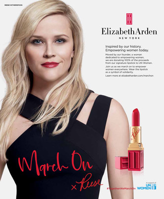 Elizabeth Arden March On Campaign Print Advertisement featuring Reese Witherspoon, the brand's Storyteller-in-Chief. #TogetherWeMarchOn